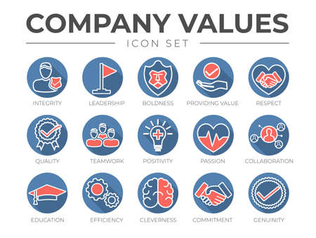 Business Company Values Round Outline Color Icon Set. Integrity, Leadership, Boldness, Value, Respect, Quality, Teamwork, Positivity, Passion, Collaboration, Education, Efficiency, Cleverness, Commitment, Genuine Icons.