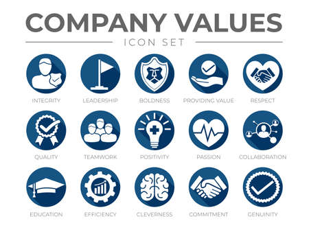 Business Company Values Flat Round Icon Set. Integrity, Leadership, Boldness, Value, Respect, Quality, Teamwork, Positivity, Passion, Collaboration, Education, Efficiency, Cleverness, Commitment, Genuinity Icons