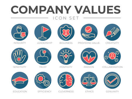 Business Company Values Round Outline Color Icon Set. Integrity, Leadership, Boldness, Value, Creativity, Sensitivity, Trust, Positivity, Passion, Collaboration, Education, Efficiency, Cleverness, Ethics, Genuinity Icons.