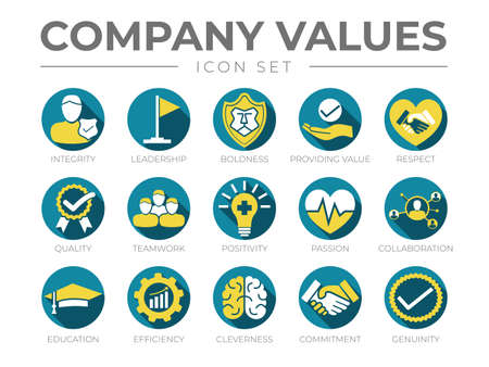Business Company Values Round Color Icon Set. Integrity, Leadership, Boldness, Value, Respect, Quality, Teamwork, Positivity, Passion, Collaboration, Education, Efficiency, Cleverness, Commitment, Genuine Icons
