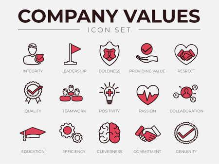 Company Values Retro Icon Set. Integrity, Leadership, Boldness, Value, Respect, Quality, Teamwork, Positivity, Passion, Collaboration, Education, Efficiency, Cleverness, Commitment, Genuine Icons. Illusztráció