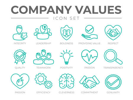Company Values Outline Icon Set. Integrity, Leadership, Boldness, Value, Respect, Quality, Teamwork, Positivity, Passion, Transparency, Passion, Efficiency, Cleverness, Commitment, Genuinity Icons.
