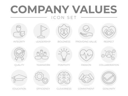 Company Values Round Gray Outline Icon Set. Integrity, Leadership, Boldness, Value, Respect, Quality, Teamwork, Positivity, Passion, Collaboration, Education, Efficiency, Cleverness, Commitment, Genuine Icons.