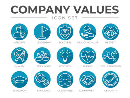 Business Company Values Round Outline Icon Set. Integrity, Leadership, Boldness, Value, Respect, Quality, Teamwork, Positivity, Passion, Collaboration, Education, Efficiency, Cleverness, Commitment, Genuine Icons.