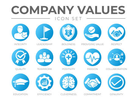 Business Company Values Round Orange Icon Set. Integrity, Leadership, Boldness, Value, Respect, Quality, Teamwork, Positivity, Passion, Collaboration, Education, Efficiency, Cleverness, Commitment, Genuine Icons.