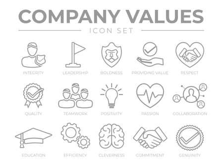 Business Company Values Outline Icon Set. Integrity, Leadership, Boldness, Value, Respect, Quality, Teamwork, Positivity, Passion, Collaboration, Education, Efficiency, Cleverness, Commitment, Genuinity Icons. Illusztráció