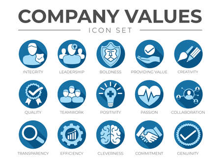 Blue Flat Business Company Values Flat Round Icon Set. Integrity, Leadership, Boldness, Value, Creativity, Quality, Teamwork, Positivity, Passion, Collaboration, Transparency, Efficiency, Cleverness, Commitment, Genuinity Icons.