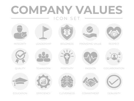 Business Company Values Round Gray Icon Set. Integrity, Leadership, Boldness, Value, Respect, Quality, Teamwork, Positivity, Passion, Collaboration, Education, Efficiency, Cleverness, Commitment, Genuine Icons. Illusztráció