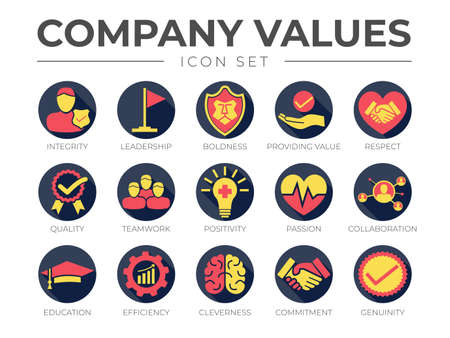 Business Company Values Round Colorful Icon Set. Integrity, Leadership, Boldness, Value, Respect, Quality, Teamwork, Positivity, Passion, Collaboration, Education, Efficiency, Cleverness, Commitment, Genuine Icons.