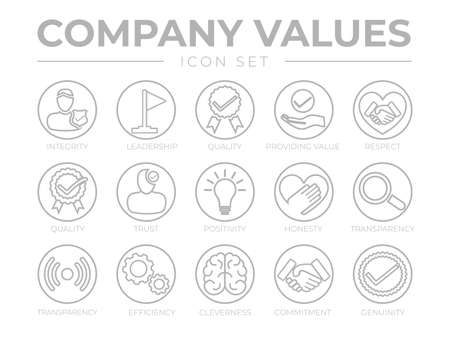 Thin Outline Company Values Round Gray Icon Set. Integrity, Leadership, Quality, Value, Respect, Trust, Positivity, Honesty, Transparency, Efficiency, Cleverness, Commitment, Genuinity Icons. Illusztráció