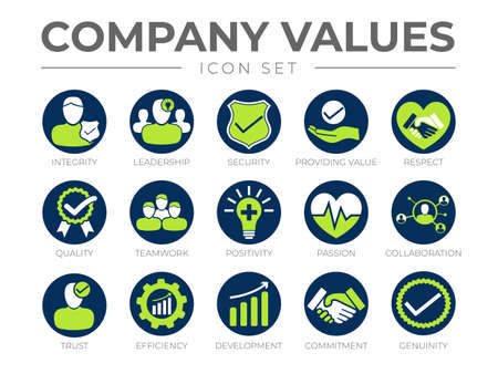 Company Core Values Round Icon Set. Integrity, Leadership, Security, Providing Value, Respect, Quality, Teamwork, Positivity, Passion, Collaboration, Trust, Efficiency, Development, Commitment, Genuinity Icons. Vecteurs