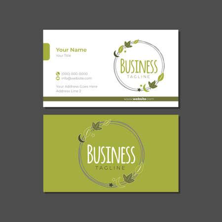 Natural Product Business Card Template with Logo Illusztráció