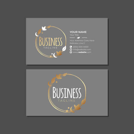 Gold Gray Business Card Template with Leaves and Badge Logo