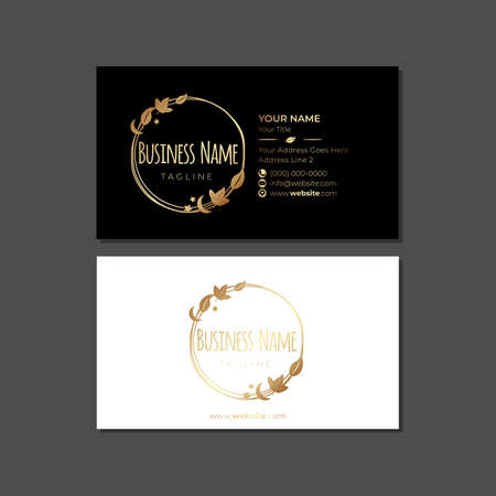 Gold Natural Business Card Template with Leaves and Badge Logo