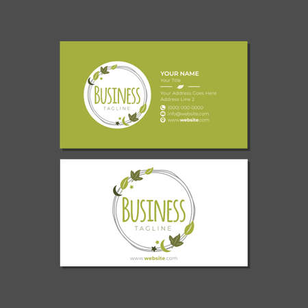 Natural Skincare Business Card Template with Badge Logo
