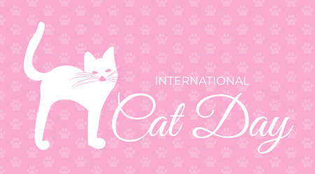 Pink International Cat Day Background Illustration