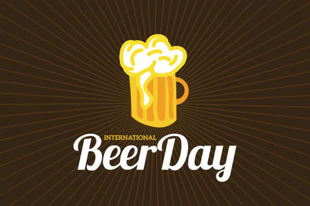 International Beer Day Retro Illustration Background