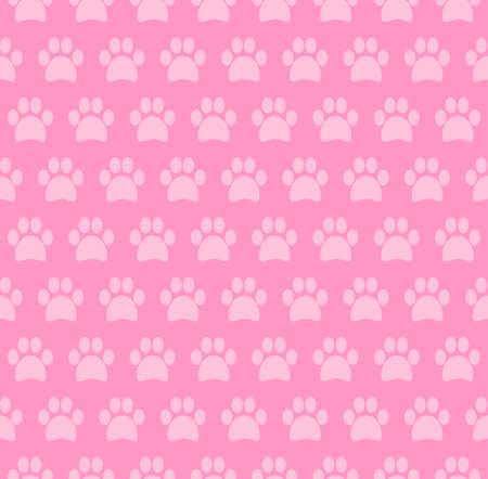 Pink Paw Seamless Pattern Design Background