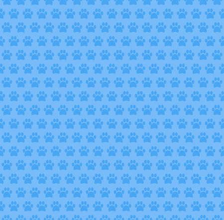 Paw Seamless Pattern Blue Design Background