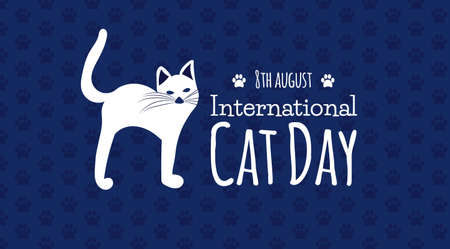 International Cat Day Blue Background Illustration