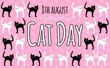 Funny International Cat Day Cartoon Style Background Illustration
