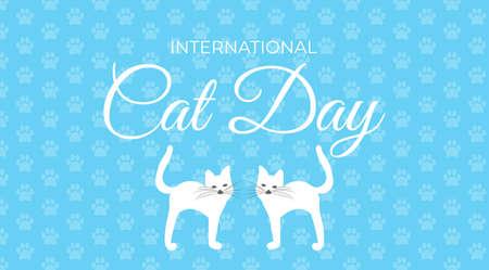 International Cat Day Pastel Blue Background Illustration Illusztráció