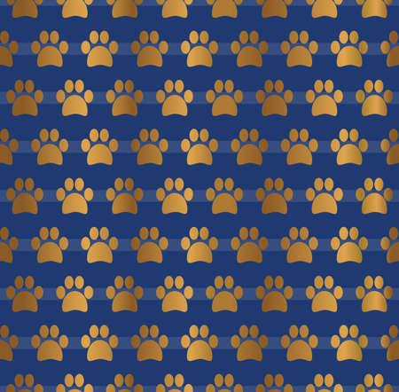 Gold Paw Seamless Pattern Design Background