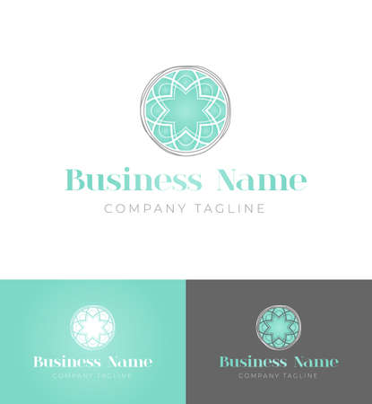 Feminine Mint Round Logo Design Template