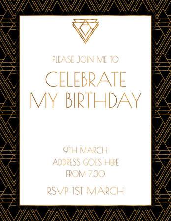 Art Deco Twenties Invitation Design Illusztráció