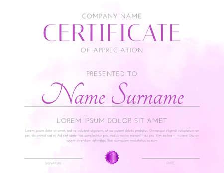 Clean Pink Certificate Design