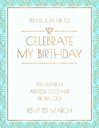 Turquoise Art Deco Invitation Design Illusztráció
