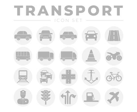 Round Transport Icon Set with Vehicles and Other Traffic Icons