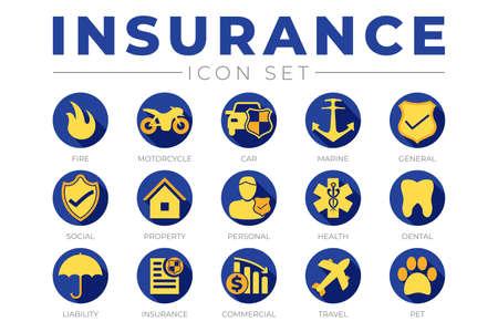 Blue and Yellow Insurance Icon Set Illusztráció