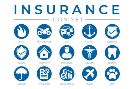 Round Insurance Icons Set