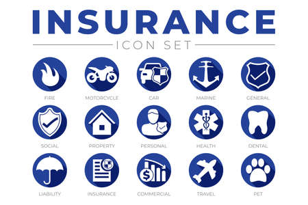 Blue Insurance Icon Set with Insurance Icons
