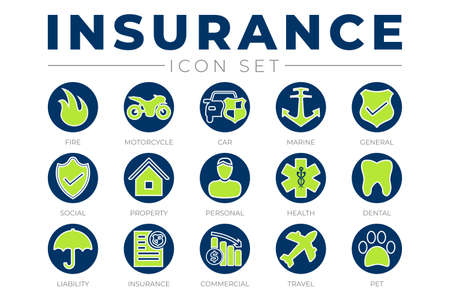 Round Insurance Icon Set with Car, Property, Fire, Life, Pet, Travel, Dental, Commercial, Health, Marine, Liability Web Icons Illusztráció