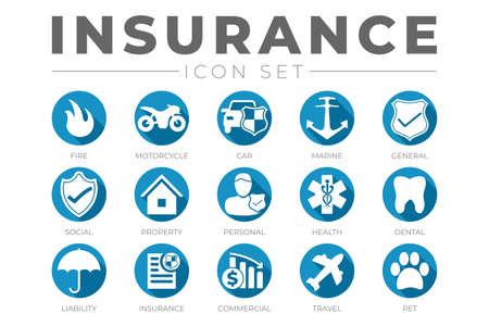 Round Flat Insurance Icon Set