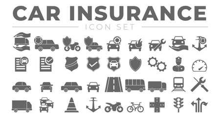 Car and Vehicle Insurance Icon Set Illusztráció