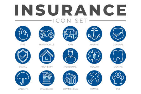 Round Outline Insurance Icon Set with Car, Property, Fire, Life, Pet, Travel, Dental, Commercial, Health, Marine, Liability Web Icons