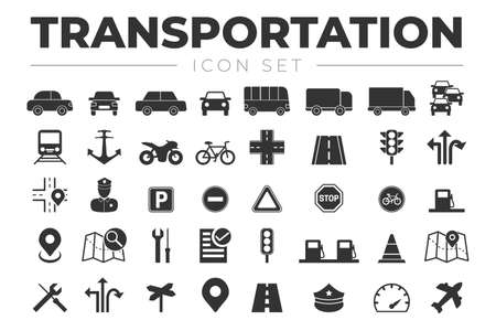 Transportation Icon Set with Vehicles, Traffic Lights, Car, Truck, Road, Motorcycle, Bicycle, Train, Airplane, Signs, Gas Station, Policeman, Marine, Bus, Map, Icons Illusztráció