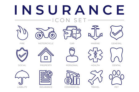 Outline Insurance Icon Set with Car, Property, Fire, Life, Pet, Travel, Dental, Commercial, Health, Marine, Liability Web Icons