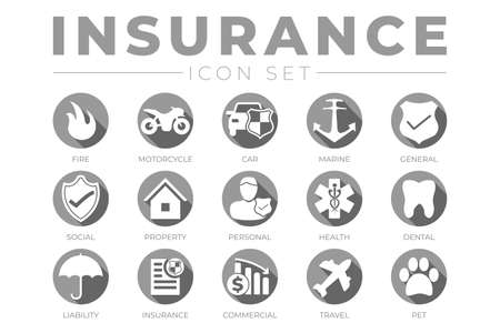 Round Gray Insurance Icon Set with Car, Property, Fire, Life, Pet, Travel, Dental, Commercial, Health, Marine, Liability Insurance Icons