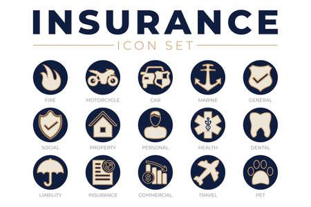 Elegant Insurance Icon Set
