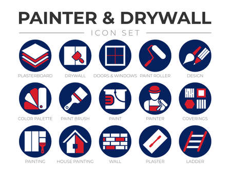 Round Painter and Drywall Color Icon Set Vecteurs