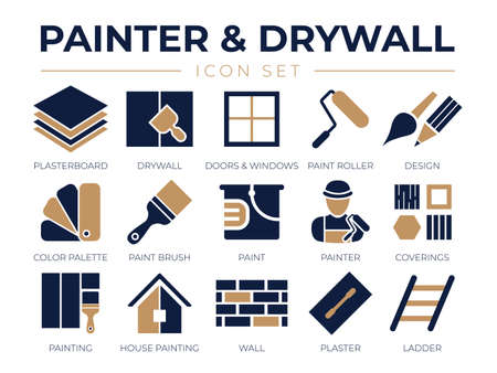 Painter and Drywall Icon Set Vecteurs