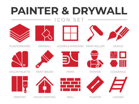 Red Painter and Drywall Icon Set with Plasterboard, Paint Roller, Brush, Painter Color Palette, Painting, Wall, Plaster, Ladder Icons