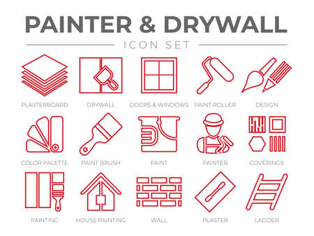 Painter and Drywall Outline Icon Set with Plasterboard, Paint Roller, Brush, Painter Color Palette, Painting, Wall, Plaster, Ladder Icons