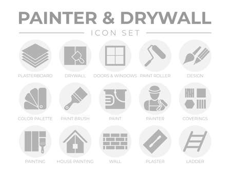 Round Gray Painter and Drywall Icon Set with Plasterboard, Paint Roller, Brush, Painter Color Palette, Painting, Wall, Plaster, Ladder Icons