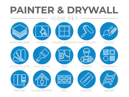 Round Outline Painter and Drywall Icon Set with Plasterboard, Paint Roller, Brush, Painter Color Palette, Painting, Wall, Plaster, Ladder Icons