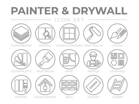 Painter and Drywall Round Outline Icon Set